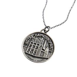 großhandel 925 sterling silber tags Rabatt Vintage Notre Dame De Paris Anhänger Halsketten 925 Sterling Silber Münze Tag Anhänger Halsketten für Männer Frauen Schmuck DHL Großhandel