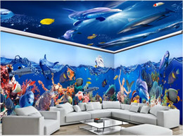 Casa de delfines online-Fondo de pantalla personalizado Foto mural personalizado Mundo submarino Sirena Delfines Casa completa Fondo personalizado Pintura de pared Lienzo Tapiz de pared 3d