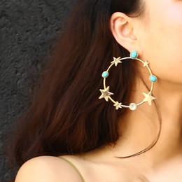 Boucles d'oreille en pierre en Ligne-Boucles d'oreilles à la mode exagérées Bohemian Retro Turquoise Stone Stars