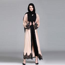 2019 abrigo largo de pavo Encaje kimono abaya Mujeres musulmanas Ropa islámica Empalme Abrigo largo Oriente Abaya femme Vestido largo traje hijab Turquía # G9 + 1 rebajas abrigo largo de pavo