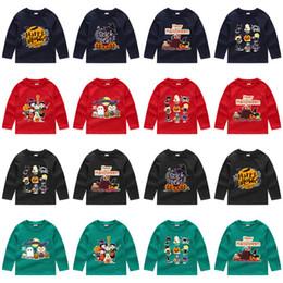 Розничная 24 стиля Дети Хеллоуин Костюмы толстовки футболки с длинным рукавом Повседневная мультфильм печатных пуловер мальчики девочки футбольные майки дети от