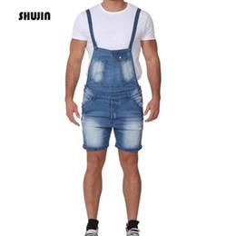 mono de mezclilla ligero Rebajas SHUJIN 2019 Vaqueros azul claro para hombres con bolsillos Jumpsuit delgado Homme Casual Denim con pantalones Correas ajustables en los hombros