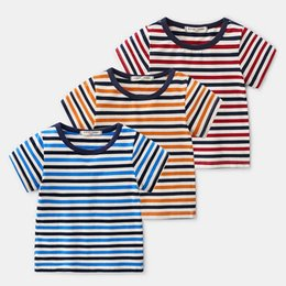 Argentina Nueva ropa de verano para niños Boy rayas algodón estiramiento camiseta de manga corta camisa de niño al por mayor cheap childrens striped t shirts Suministro