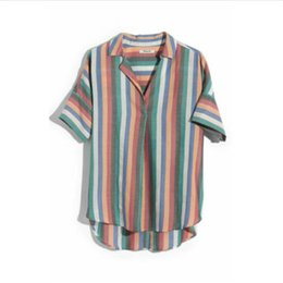 Плюс размер льняной блузки онлайн-Plus Size Womens Casual Loose Sleeve Baggy Rainbow Linen T-Shirt Tops Blouse