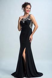 Elegante, frisado, sexy, costas, nu on-line-Jóia preta Sereia Vestido de Noite Elegante Frisado Cristais Colarinho Dividir Sexy Back Design Vestidos Bonitos Formal Vestidos de Noite