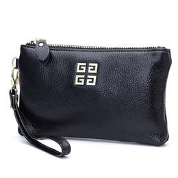 Pulsera de cuero genuino online-Nuevo diseño de cuero genuino de las mujeres bolsos de embrague del día bolsos de las mujeres famosas señoras Wristlet embrague cartera bolso del partido de tarde