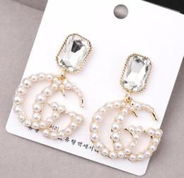 Cartas para joyería online-Moda Letras G Pendientes Pendiente de botón de color dorado con perla para la joyería del partido de la muchacha de las mujeres
