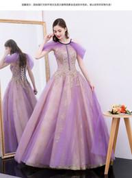 100% vero lusso viola velo d'oro ricamo perline abito da ballo principessa abito medievale principessa / vittoriano belle ball da