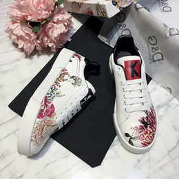 5758dad3a7 DOLCE & GABBANA GRAFFITI peony shinning Slip-On Portofino women Sneakers In  Printed Nappa leather DG white ace Shoes for men shoes