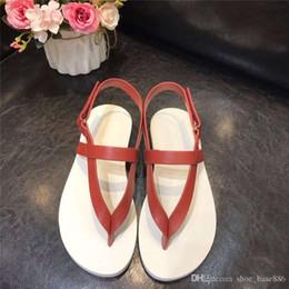 sandalias planas rojas talla 35 Rebajas Nuevo desfile de moda para mujer Nuevo estilo plano Clip toe Sandalias de mujer Estilo europeo y americano Estilo clásico rojo y negro Tamaño 35-40