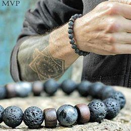 pulseira de contas de madeira para homens Desconto FANALA Natural Lava Rock Stone Beads Strand pulseiras de madeira talão Acessórios Black Rock Pedra dos homens / mulheres de presente da jóia