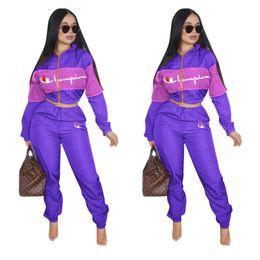 2019 teste padrão do bodysuit das meninas Mulheres Treino Carta Campeão Carta de Manga Comprida Top Colheita + Calças Leggings 2 PCS Definir zíper jaqueta Sportswear Roupa terno Outfit S-2XL hot