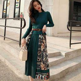 koreanische roben Rabatt Korean Büro Damen Pullover Kleid Herbst Frühling-lange Hülsen-Druck-Plissee-Kleid-elegante beiläufige Robes TA1646