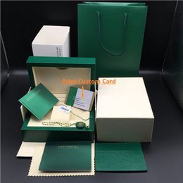 Sacs en papier personnalisés en Ligne-Papier de correspondance original correct carte de sécurité sac cadeau Top boîte de montre en bois vert pour Rolex boîtes livrets montres Free Print Custom Card