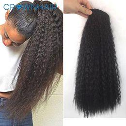 "großhandel natürliches haar hairpiece Rabatt 18"" 150g Black Brown Ponytails Lange verworrene gerade Verpackung um synthetische Magie Ponytails Haarteil Extensions"