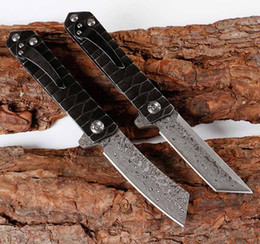 microtech folding knives Coupons - EDC Damascus blade outdoor climbing pocket knife portable folding knife camping self-defense mini mens gift microtech tool Hunting Knives