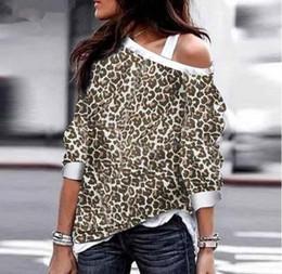 Felpa della ragazza del leopardo online-Donna Inverno Tops e T-shirt a manica lunga Leopard Maglioni Felpe ragazza Loose Fit Tops Top Fitness Feminino Abbigliamento