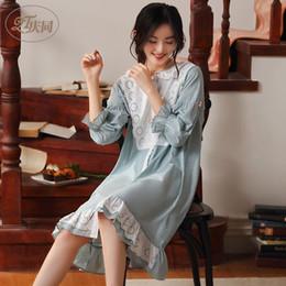 Корейское сексуальное вечернее платье онлайн-Женщин хлопка с длинным рукавом Nightgown Осень Тонкий корейских Сыпучие Кардиган Night платье плюс размер сексуальное белье Batas De Dormir Mujer