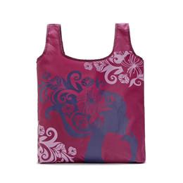 2019 sacchetto di spalla fiorito Borsa a tracolla in tessuto Oxford tessuto pieghevole shopping bag fiore 60pcs / lot Borse di drogheria ecologico portatile riutilizzabile Tote per le signore