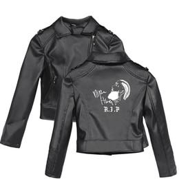 2019 costumes de spectacle réguliers Nipsey Hussle Motif Imprimer Avec Zipper Veste En Cuir Plus La Taille Manches Longues Manteau Femme Style Adolescent