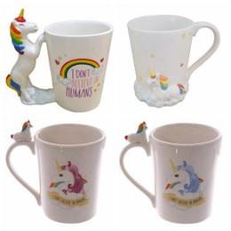 Cerámica kawaii online-Unicornio taza de cerámica 5 Estilos de Kawaii caballo tazas impresas en 3D creativo de la historieta beber jugo de leche Café Taza de té OOA6322-1