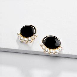 2020 ovale perla di perle ZWPON Trendy Nero di pietra ovale Mini fissa gli orecchini Surround intarsi fissa gli orecchini per la donna monili all'ingrosso ovale perla di perle economici