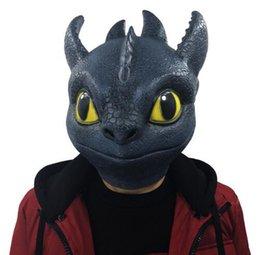 2019 mascara de entrenamiento para Película Entrena a tu dragón 3 Máscara desdentada Noche Furia Disfraces de cosplay Accesorios Máscara Caja de puntera de látex de dragón negro Regalo divertido rebajas mascara de entrenamiento para