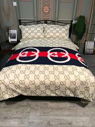 Argentina Marca de fábrica G Letra minúscula Impreso estilo americano Ropa de cama geométrica Lijado Tela de algodón Queen size Juego de funda de algodón 4pcs Juego de cama Suministro