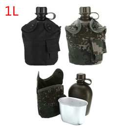 2020 garrafas de água mochila 1L Garrafa de Água Tático Ao Ar Livre Do Exército Água Cantil Chaleira Com Bolsa Conjunto Copo Para Camping Caminhadas Mochila Sobrevivência garrafas de água mochila barato