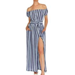 d9b94b5401f stripe off shoulder dress Promo Codes - New Fashion Short Sleeve Stripes  Off Shoulder Sexy Dress