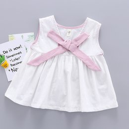 d743a53fe80 Little Girls Bow Knot Vest Dress Tops Summer 2019 Kids Boutique Clothing  Korean 1-4T Baby Girls Cotton Sleeveless Short Dresses Cute