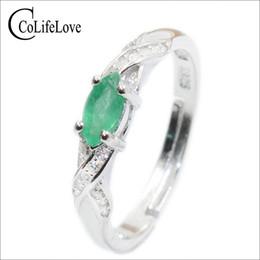 2019 echte smaragde Neue Mode Natürliche Smaragd Ring 3 Mm * 6 Mm Echtem Smaragd Silber Ring Sterling Silber Smaragd Verlobungsring Für Frau J 190430 rabatt echte smaragde