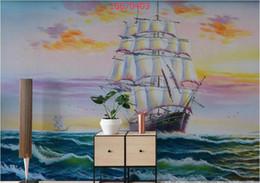 pintura a óleo vela Desconto Personalizado Pura pintados à mão crepúsculo Jinghai mar vela arte da pintura a óleo suave vela óleo papel de parede TV fundo parede
