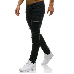 Pantalones vaqueros verdes para hombre online-Delgada para hombre elástico rasgada flaca Straight Fit Denim Jeans Pantalones motorista Verde Negro Pantalones largos rectas con estilo adelgazan los pantalones vaqueros