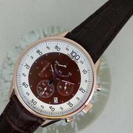 Calibre de quartzo original on-line-Luxo suíço rosa tags de ouro calibre Mikrograph relógios mens esportes cronógrafo de quartzo homens de couro genuíno assistir originais caixa de papel