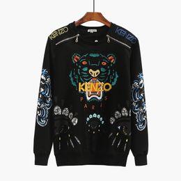 2019 Designer De Luxe Tête De Tigre Brodé Hommes Sweat Coton Automne Hiver Unisexe Hoodies Casual Femmes Streetwear Jogger Survêtement ? partir de fabricateur