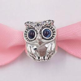 Coruja pulseiras charme prata on-line-Authentic 925 Sterling Silver Beads Sparkling Owl Charm Charms Serve Para Pandora Estilo Europeu Pulseiras Jóias Colar 798397NBCB