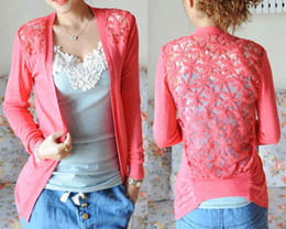 bd92392e39cc Spring Summer Fashion Candy Color Lace Cardigan Long Sleeve Back Hollow out  Knitted Crochet Tops Ladies Female Blusa Feminina