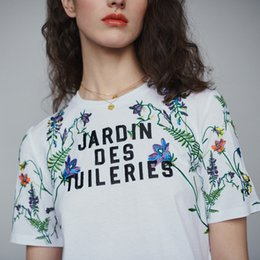 2ceed2bb7c 2019 Primavera Francia Estampado floral Manga corta Bordado Cuello redondo  Algodón Dama Camiseta Mujeres Camisa Moda M15