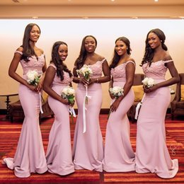 blush beaded bridesmaids dress Coupons - Blush Pink Off Shoulder Bridesmaid Dresses Appliques Beaded Maid of Honor Gown Floor Length Black Girls Party Dress South African BM0616