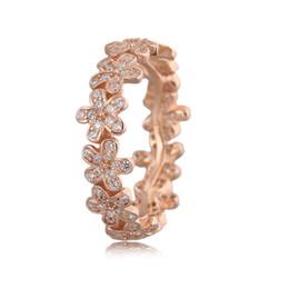 Anelli di fidanzamento in oro rosa cz online-Anello di fidanzamento per matrimonio donna Oro rosa Colore Dazzling Daisy Clear CZ Anello in argento per donna regalo di compleanno