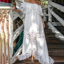 Летнее платье вязания крючком онлайн-Mesh женщины с плечом Maxi платье Lace Crochet Сборка Пляж Long White Party платье Женщина 2019 лето Elegant Lady Платье Y19073101