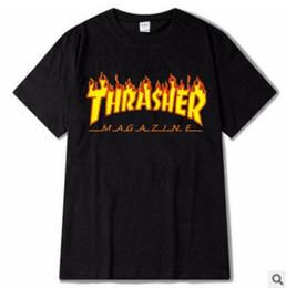Hiphop skateboard en Ligne-Mens Marque De Mode T-shirt Designer T-SHIRT Flammes Imprimé Lettres Thra Hiphop Skateboard Tops À Manches Courtes T-shirts