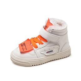 kids sports shoes Autumn And Winter 2019 Brand Boy Medium high help Leisure Sneakers  Girl baby Small white black Cotton Keep warm Korean 1bcf7487cfc51