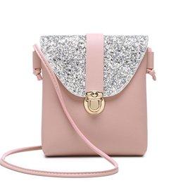 Corpo aberto da senhora on-line-Mulheres pequeno bling bling bolsa de ombro da senhora mini bonito cor sólida Brilhante bolsa de abertura bolsa de abertura do corpo cruz