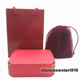 2019 schmuckkästen verpacken samt Liebesschraube rotes Armband Box Packung mit Pager Tasche und Samtbeutel