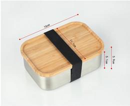Deutschland 304 Edelstahl Holz Lunchbox Umweltquadratnahrungsmittelbehälter Bambusabdeckung bento schachtelt freies Verschiffen A03 Versorgung
