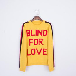 902e72d5bfb0 2019 New Spring Autumn Women Men Knitwear Yellow Letters Back Striped Knit  Sweater Wolf Head Embroidery Print Arm Female Pullovers Coat