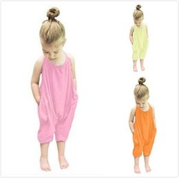 0a4fb79b62c6 Toddler Kids Baby Girls Strap Romper Jumpsuit Harem Pant Trousers Clothes  pink yellow orange 3 colors