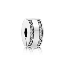 2019 kreisförmiges armband Echtes Sterling Silber runder fester Clip mit klarem CZ-Stein Fit Pandora Silber Charms Schmuck Armband machen DIY günstig kreisförmiges armband